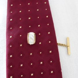 Mother of Pearl Tie Pin - A 1970's Tie Tack - Natural Shell in Gold Plated Metal (SOLD)